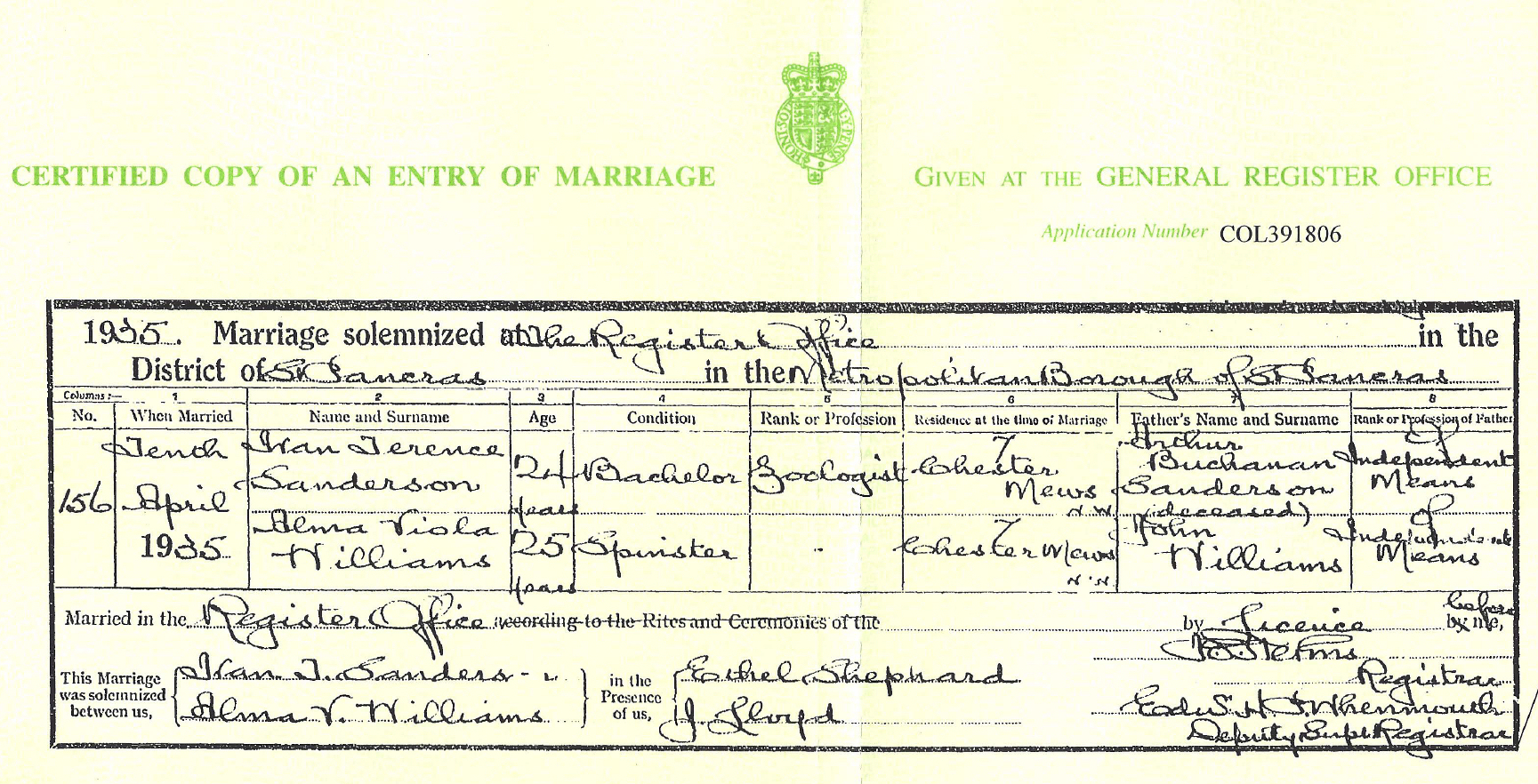 Tribute to ivan t sanderson click here to see ivan and almas british marriage certificate xflitez Gallery